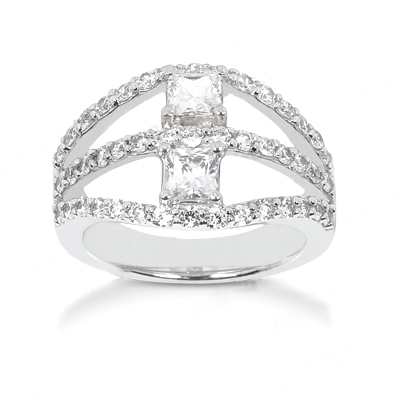 18K Gold Women's Diamond Ring 1.70ct