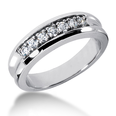 18K Gold Women's Diamond Wedding Band 0.49ct Main Image