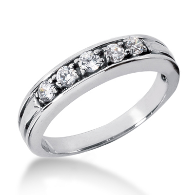 18K Gold Women's Diamond Wedding Band 0.50ct Main Image