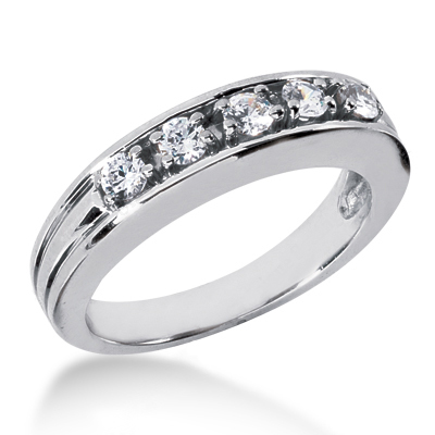18K Gold Women's Diamond Wedding Band 0.60ct