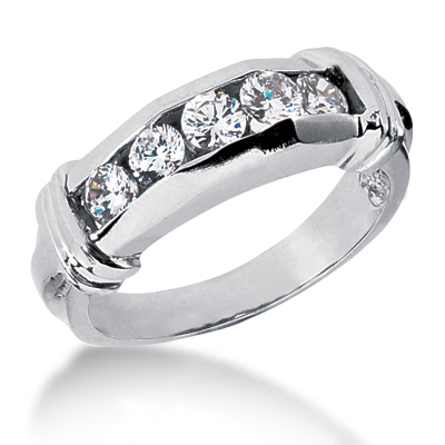 18K Gold Women's Diamond Wedding Band 0.74ct