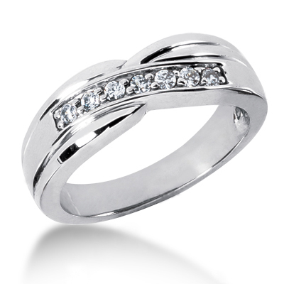 18K Gold Women's Diamond Wedding Ring 0.21ct