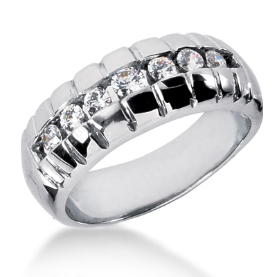 18K Gold Women's Diamond Wedding Ring 0.53ct Main Image