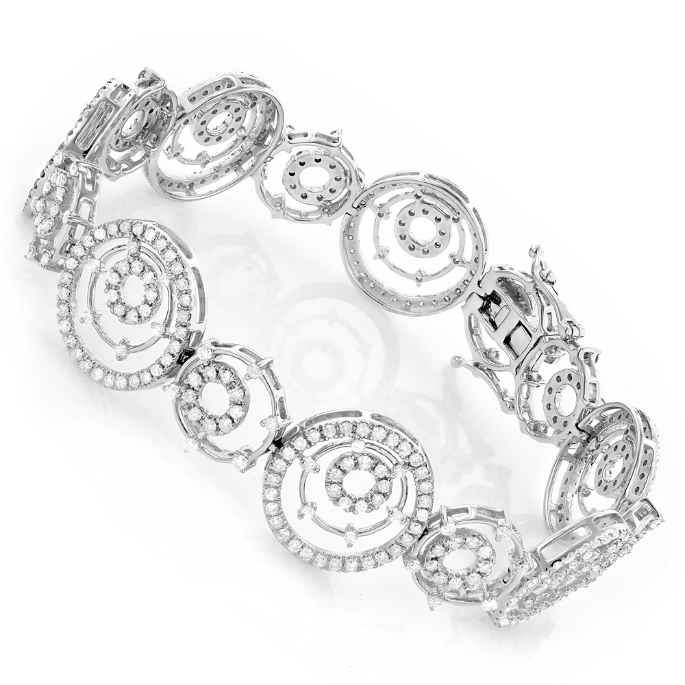 18K Gold Womens Multi Circle Diamond Bracelet 3.54ct White Image