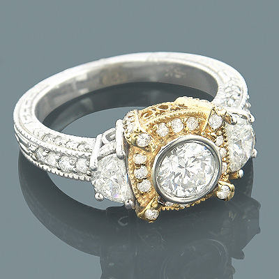Unique 18K Gold Half Moon and Round Diamond Engagement Ring 1.5ct Main Image