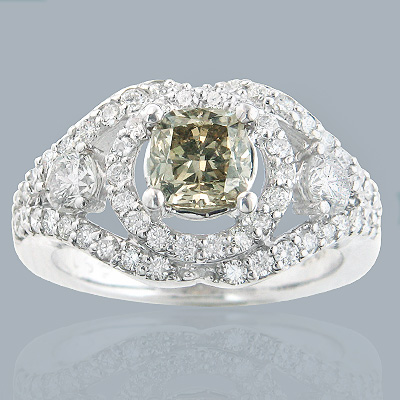 18K Natural Champagne Diamond Engagement Ring 2.19ct