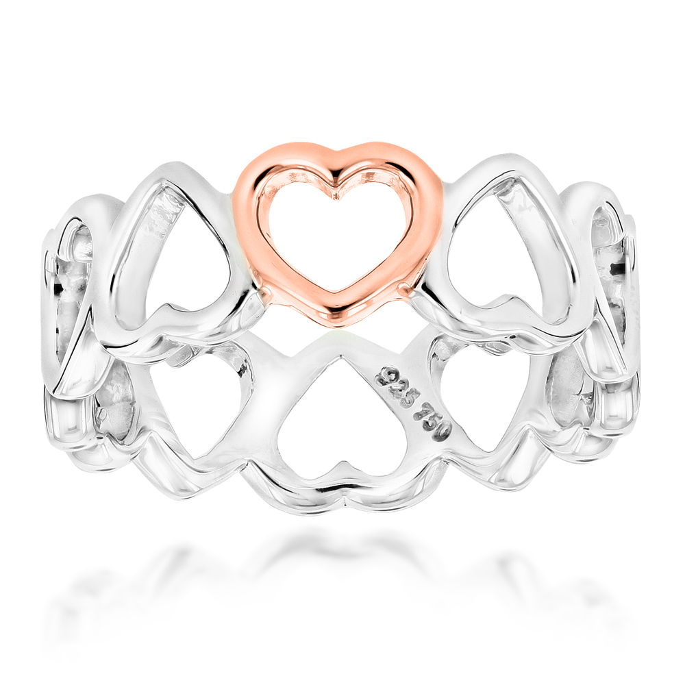 18K Rose Gold Sterling Silver Tiffany Hearts Ring Main Image