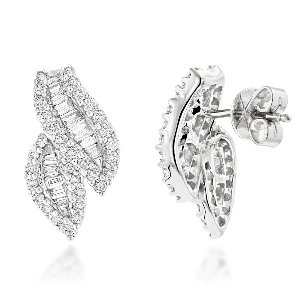 18K Round Baguette Diamond Leaf Earrings 1.23ct White Image