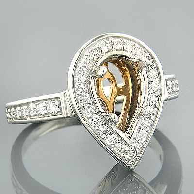 Halo 18K Two Tone Gold Diamond Engagement Ring Setting .65ct Main Image