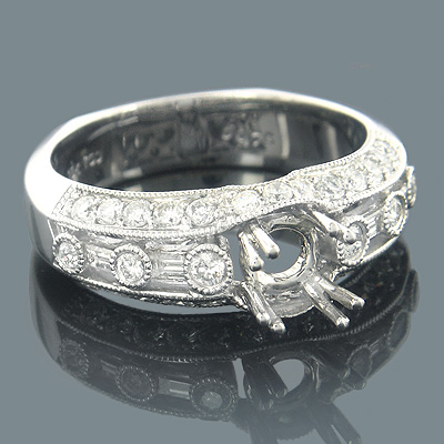 18K White Gold Diamond Engagement Ring Setting 0.82ct Main Image