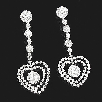 18K White Gold Diamond Heart Earrings 8.02ct LUCCELLO Jewelry