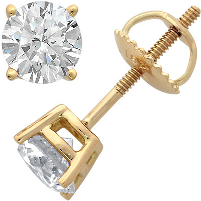18k Yellow Gold 4 Prong Diamond Stud Earrings 1ct Main Image
