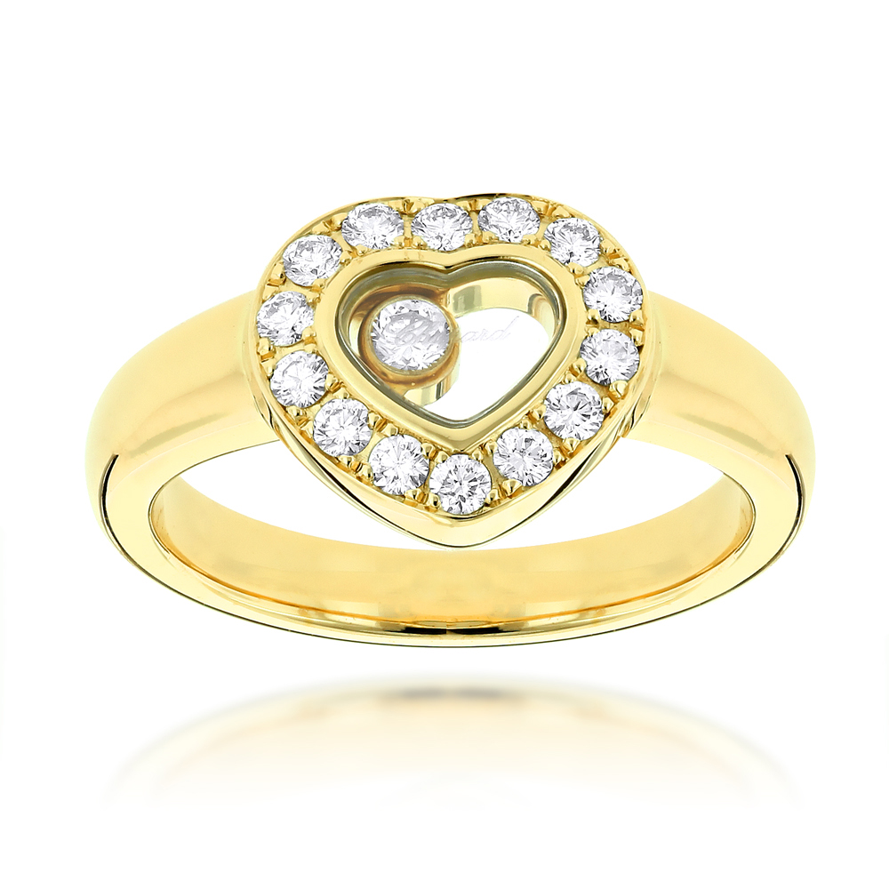 18K Yellow Gold Chopard Floating Happy Diamonds Heart Ring for Women 0.29ct Yellow Image