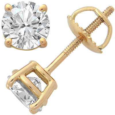 18k Yellow Gold Four-Prong Diamond Stud Earrings 2ct Main Image