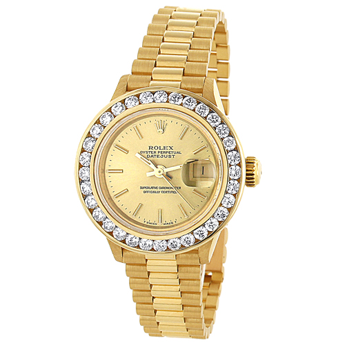 18k Yellow Gold Ladies ROLEX Oyster Diamond Watch Perpetual Datejust 3ct 18k-yellow-gold-ladies-rolex-oyster-diamond-watch-perpetual-datejust-3ct_1