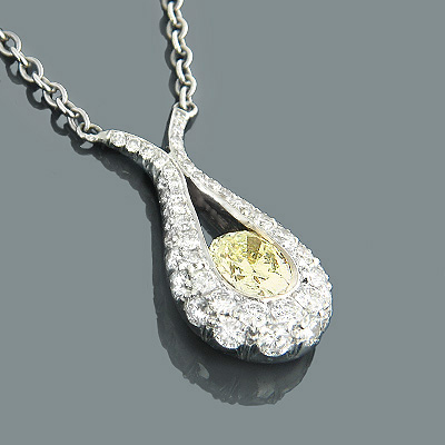 18K/22K Oval Natural Yellow Diamond Drop Necklace 1.08