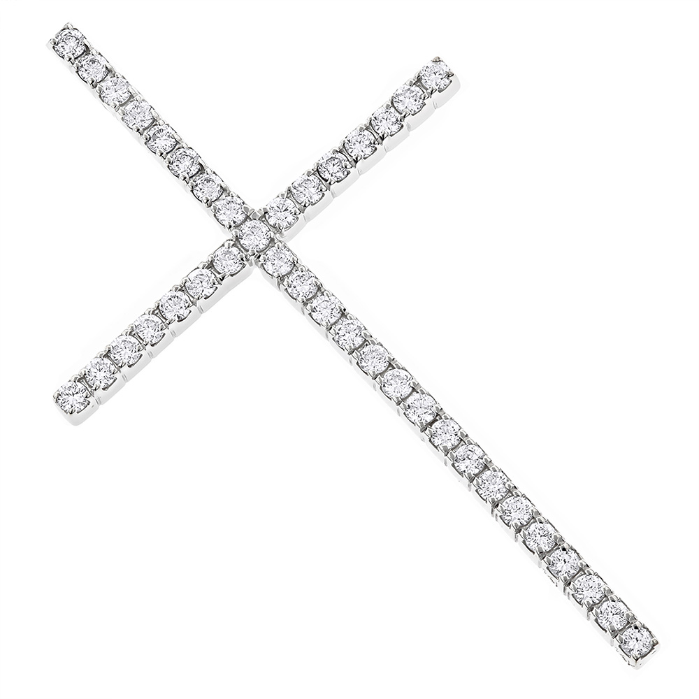 1ct Large Diamond Cross Pendant White Gold Yellow Gold or Rose Gold White Image