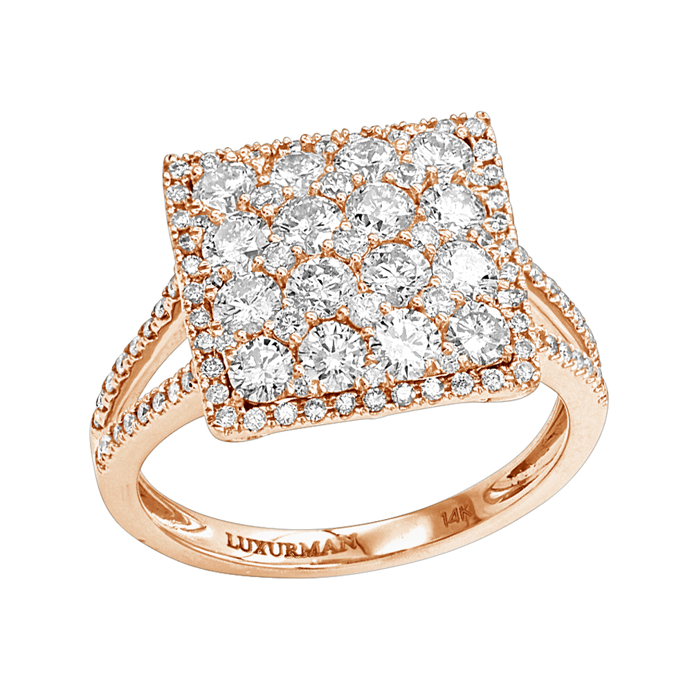 2 Carat 14K Gold Cluster Diamond Engagement Ring by Luxurman Rose Image