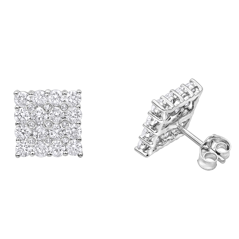2 Carat Luxurman Square Shape Round Diamond Earrings Studs in 14k Gold White Image