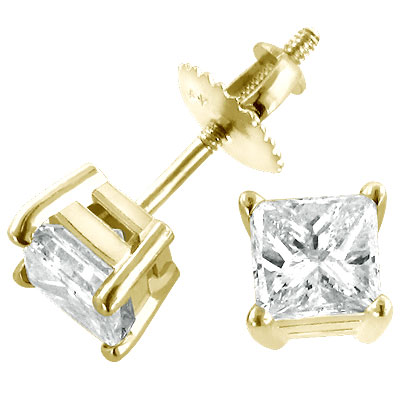 2 Carat Princess Diamond Stud Earrings 14K Yellow Gold Main Image