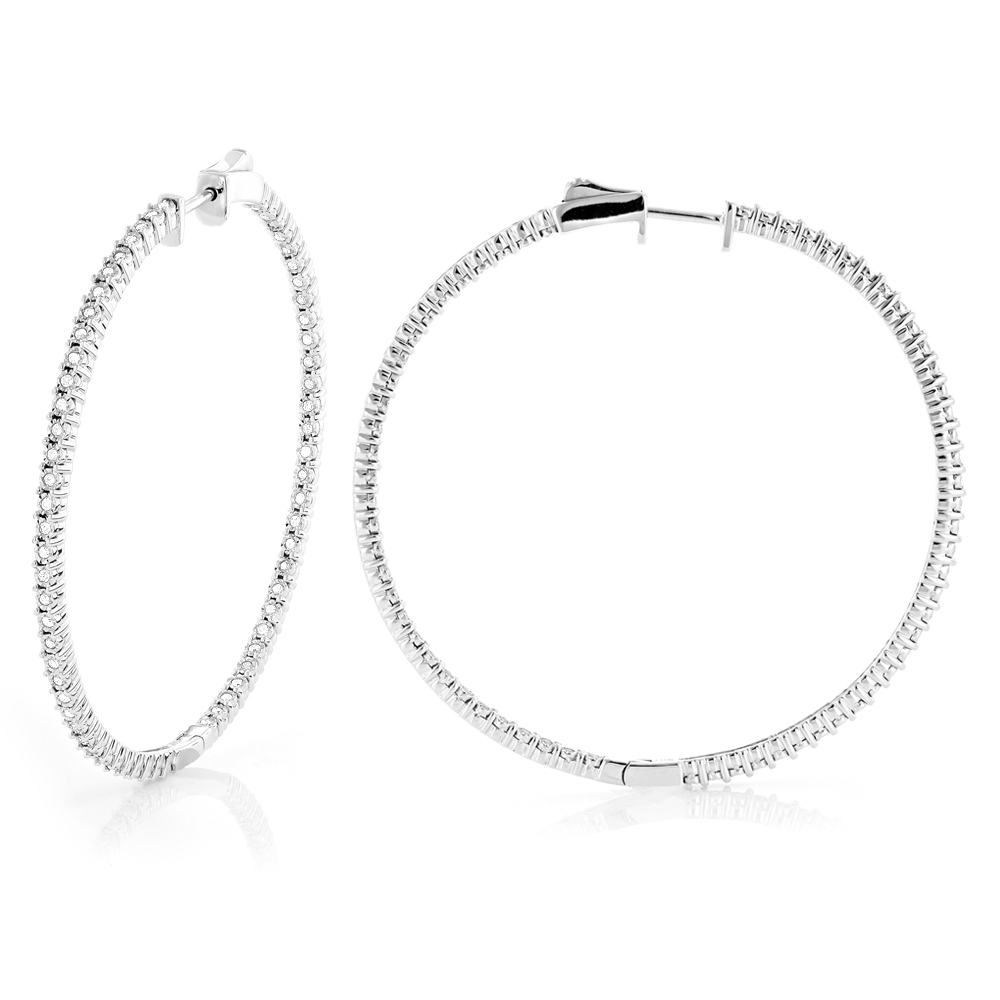 2 Inch Diamond Hoop Earrings 1ct 14K Gold Inside Out Hoops Main Image