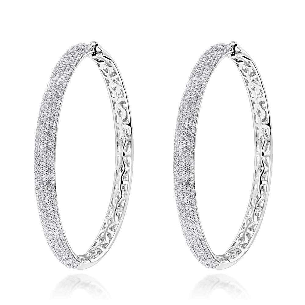 2 Inch Diamond Hoop Earrings 2.2ct 14K Gold