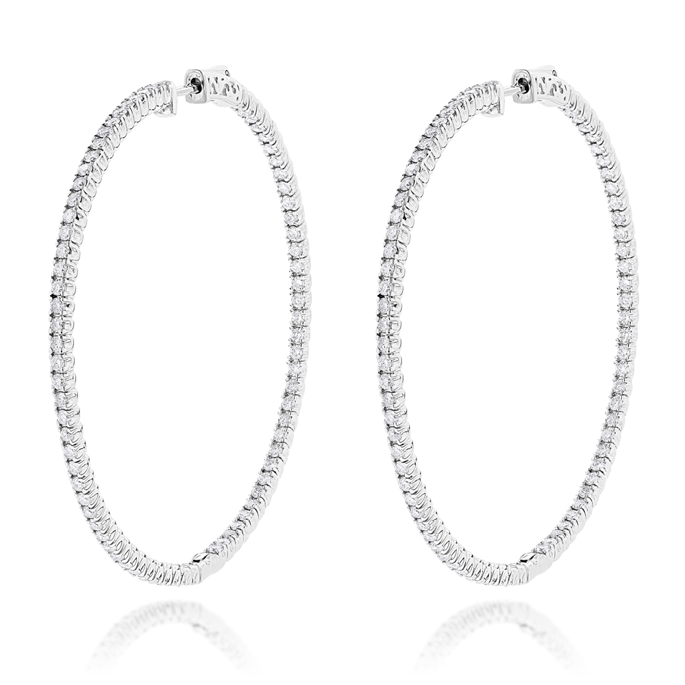 2 Inch Diamond Hoop Earrings 4ct 14K Gold Inside Out Design Main Image