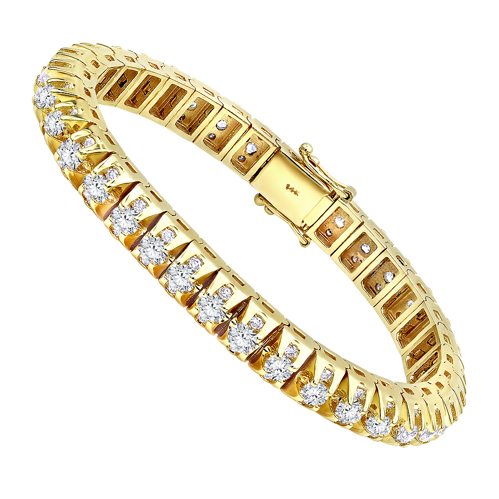 15 Carat Unique Diamond Tennis Bracelet for Men in 14k Gold By Luxurman Yellow Image