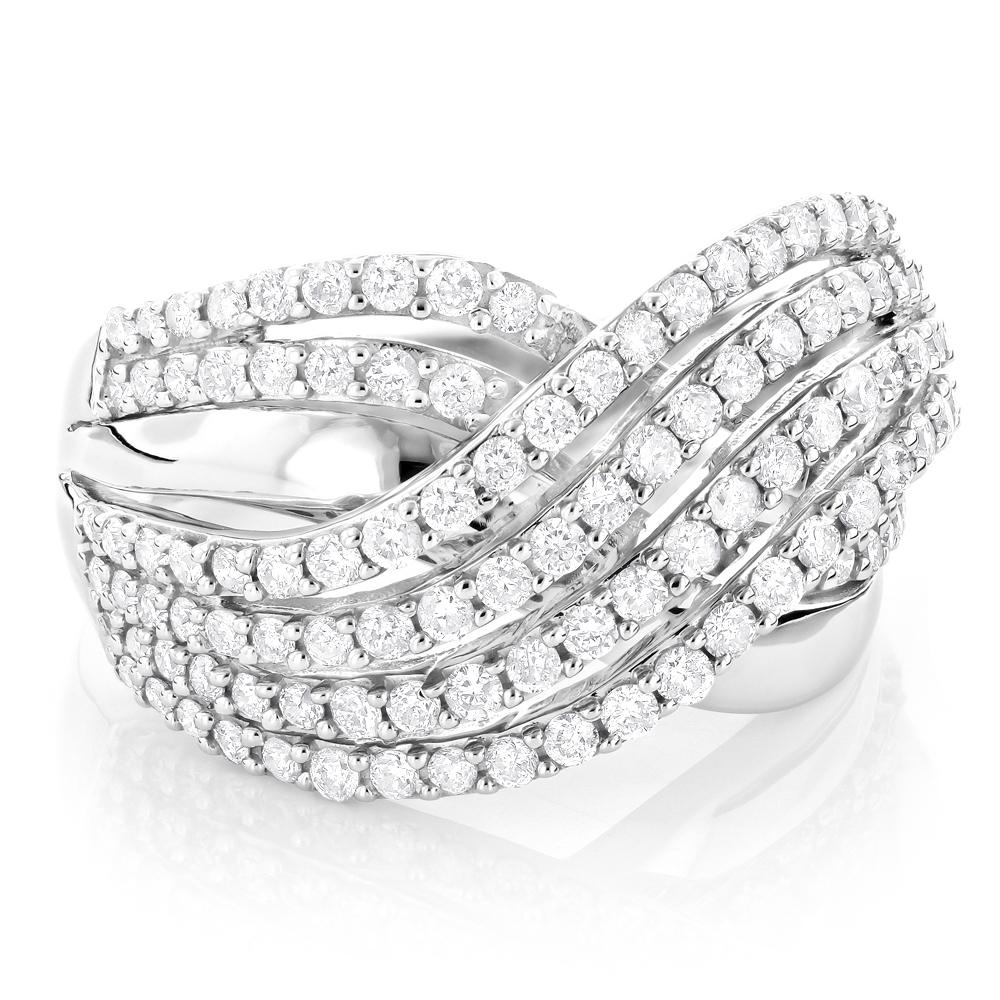 Right Hand Rings: Gold Diamond Wave Ring For Women 1.3ct 14K White Image