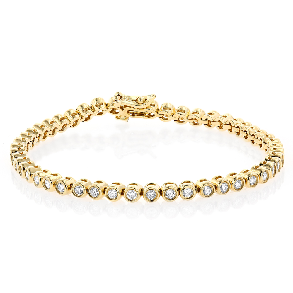 2.20 Carat Diamond Tennis Bracelet 14K Gold Bezel Set Yellow Image