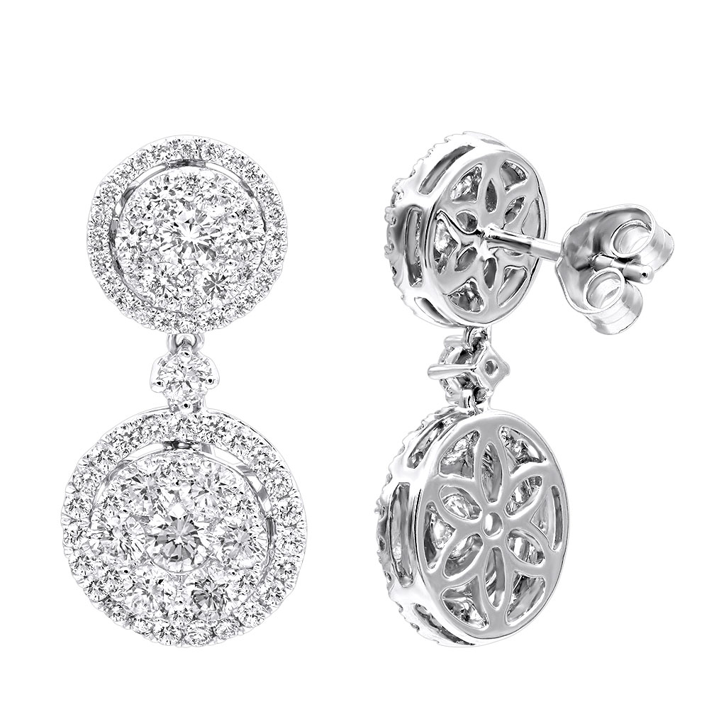 2.5 Carat Halo Diamond Drop Earrings for Women in 14k Gold By Luxurman White Image