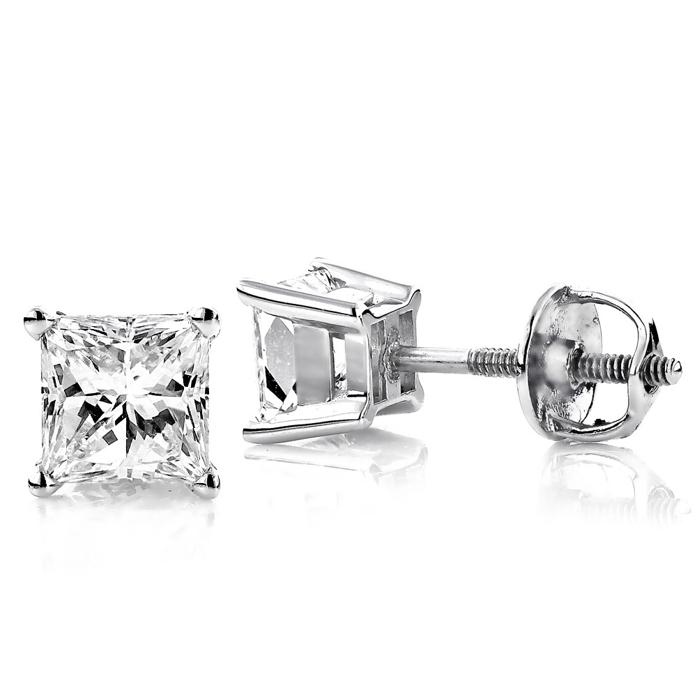 2ct Princess Cut Diamond Platinum Stud Earrings Main Image