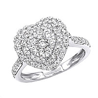 1 Carat Diamond Ring for Women Heart Design 14K Yellow Rose White Gold