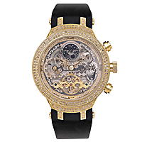 Yellow Skeleton Watch by Joe Rodeo Master 2.20ct Diamond Watches