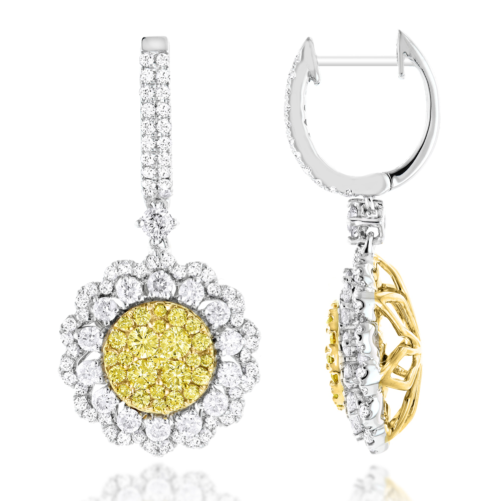 3 Carat 14K Gold White Yellow Diamond Flower Earrings for Women by Luxurman