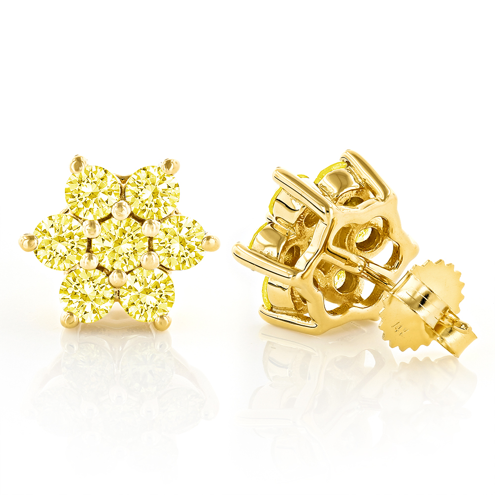3 Carat Yellow Diamond Stud Earrings 14K Gold Yellow Image