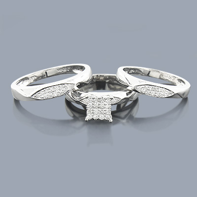 3 Piece Diamond Engagement Ring Set 0.32ct 14K Main Image