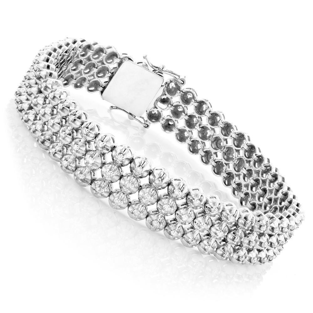 3 Row Mens Diamond Bracelet 4.75ct 10K Gold White Image