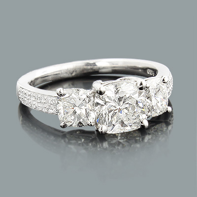 3 Stone Rings: Cushion Cut Diamond Engagement Ring 2.65ct Platinum