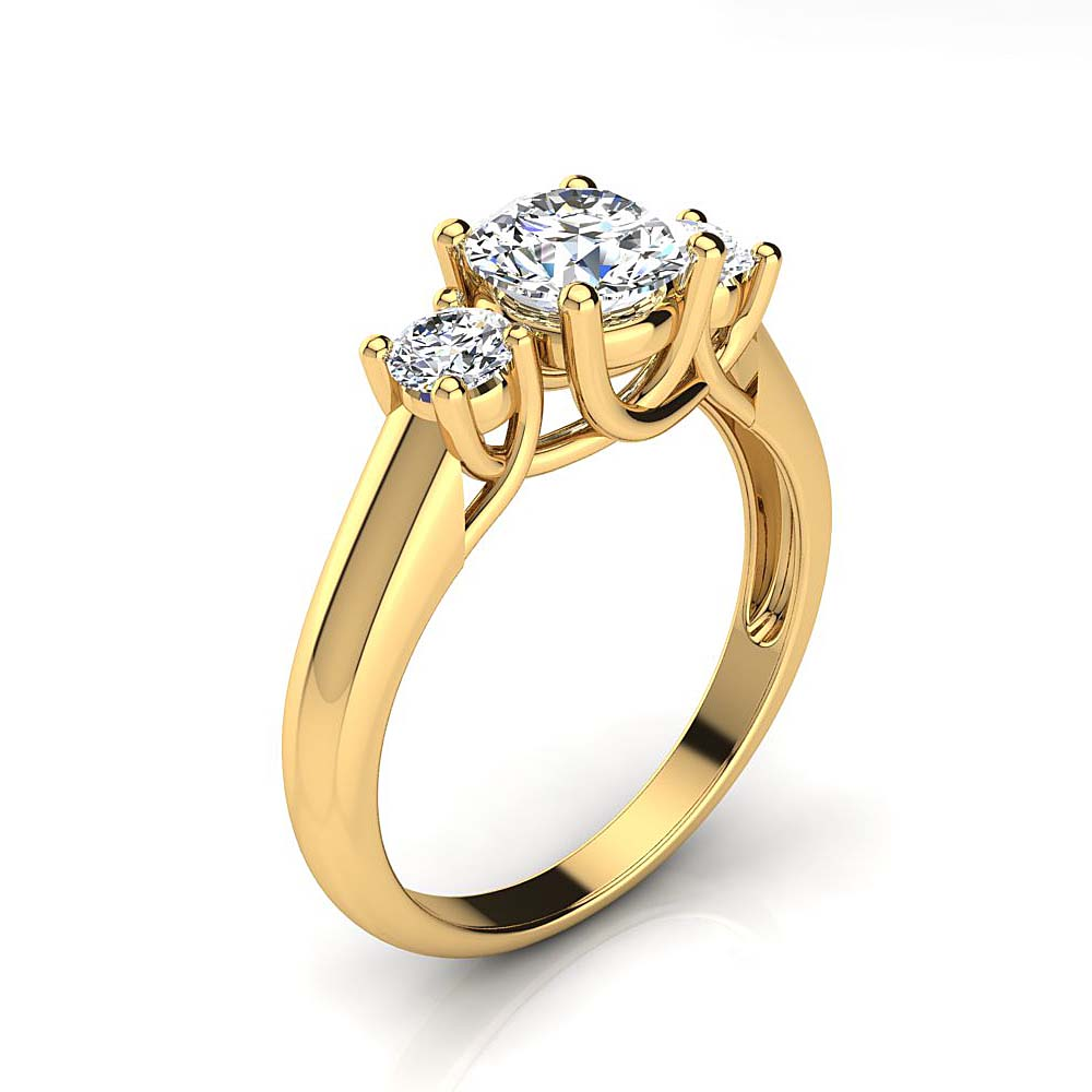 3 Stone Rings: Past Present Future Diamond Engagement Ring 1.1ct 18K Gold Yellow Image