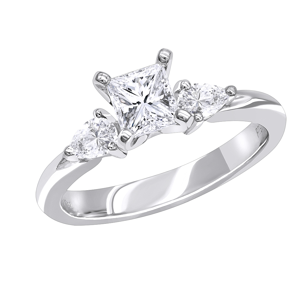 3 Stone Rings: Platinum Princess cut and Pear Diamond Engagement Ring 0.87