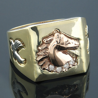 3 Tone 14K Gold Mens Diamond Ring Horse Detail 0.12ct Main Image