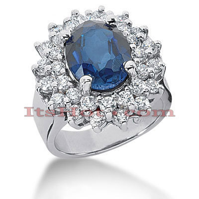 4 Carat Blue Sapphire Diamond Ring 14K Gold 1.28ct Main Image