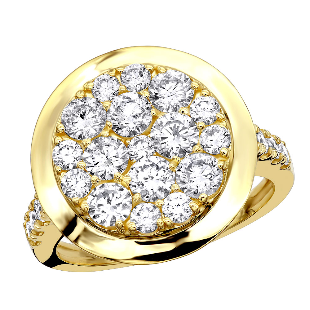 4 Carat Mens Diamond Engagement Ring 14k Gold Yellow Image