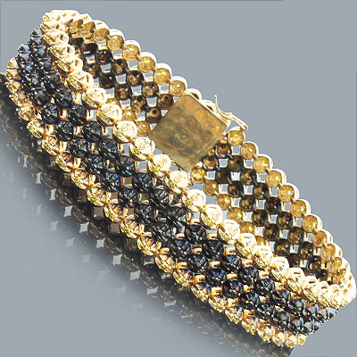 4 Row Black and Yellow Diamond Bracelet 6.60ct 10K