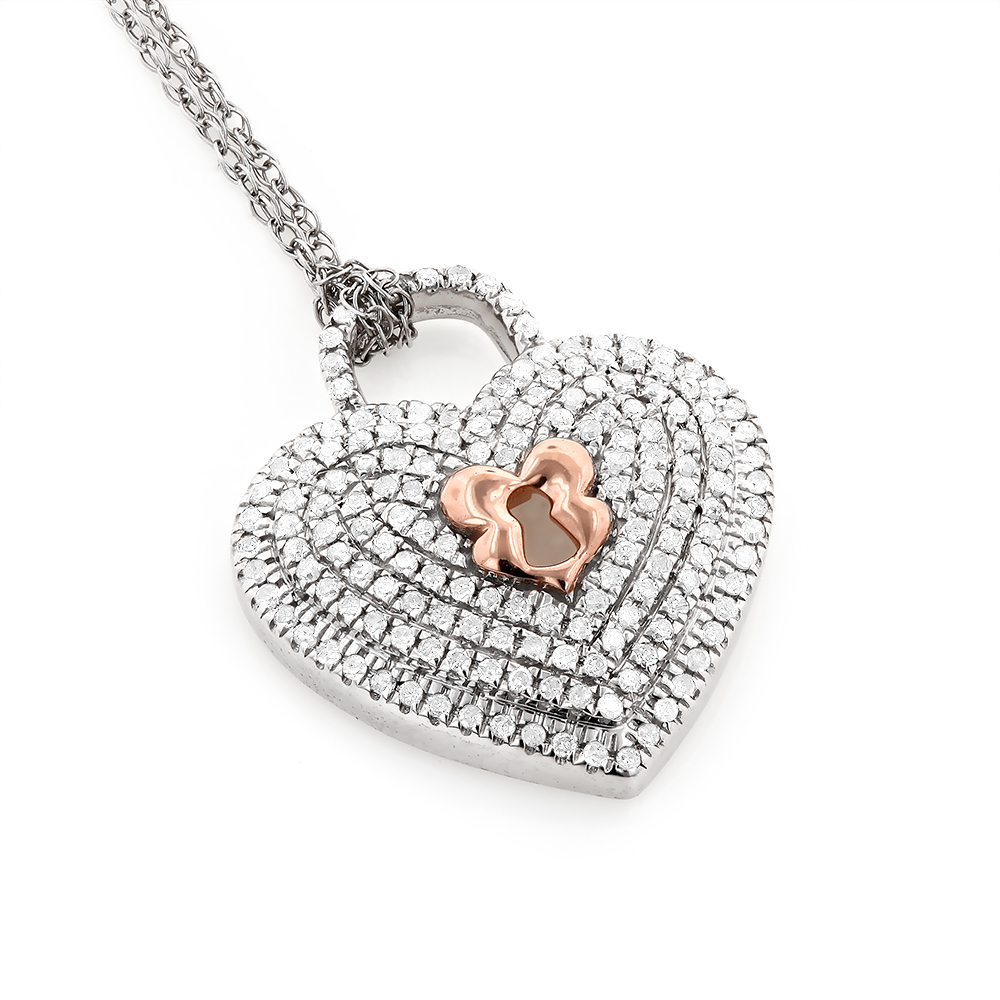 Micro Pave Diamond Heart Pendant Necklace 0.25ct 10K Gold Two Tone Image