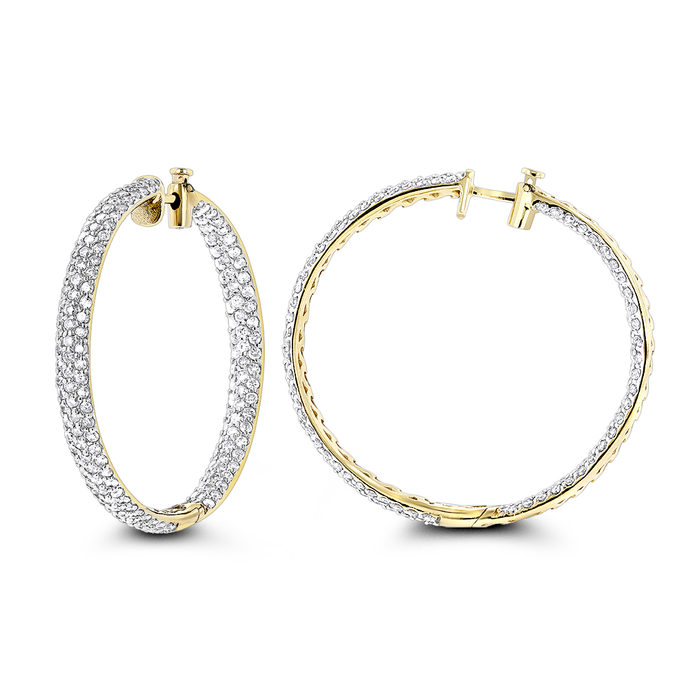 Large 5 Carat Diamond Hoop Earrings for Women 14K Gold Inside Out Style Yellow Image