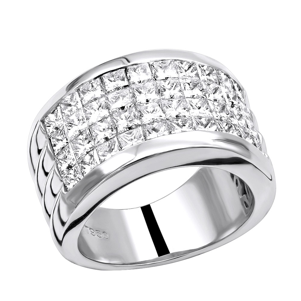 platinum ring cut in invisible h channel ting diamond setting set princess engagement vs bd g