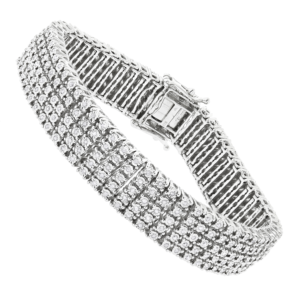b5f400b0f7515 5 Row Mens Diamond Tennis Bracelet in Sterling Silver 1.75 carat Gold Plted