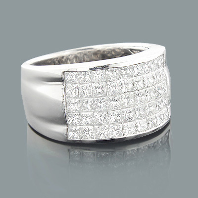 5 Row Princess Cut Diamond Ring 2.52ct 14K Gold Wedding Band